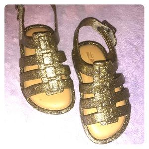 Gold sparkly gladiator Mini Melissa sandals